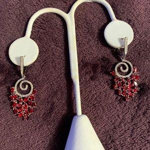 CZ & Ruby Silver Dangle Earrings